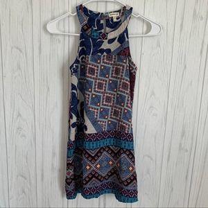 Monteau Girl Blue Patterned Sleeveless Dress